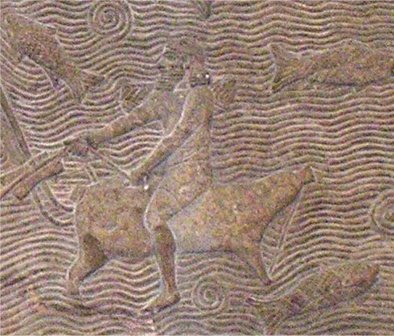 Crossing a river on a raft made of animal skins. Assyrian relief from Nineveh.