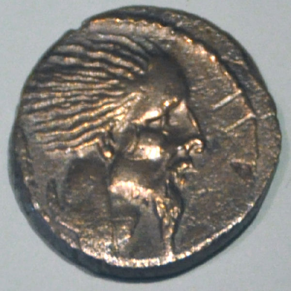 Coin of Caesar, showing a Gallic chieftain