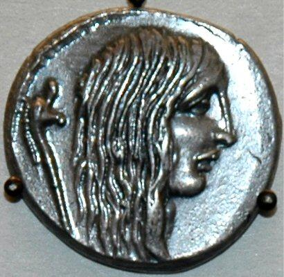 Coin of Caesar, showing a Gallic captive