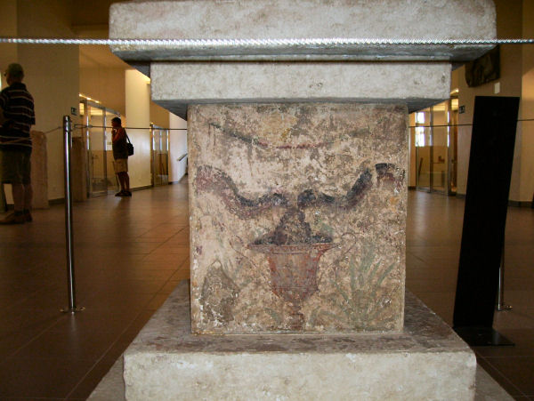 Emporiae, House 2B, altar with themes from the cult of Asclepius (2)
