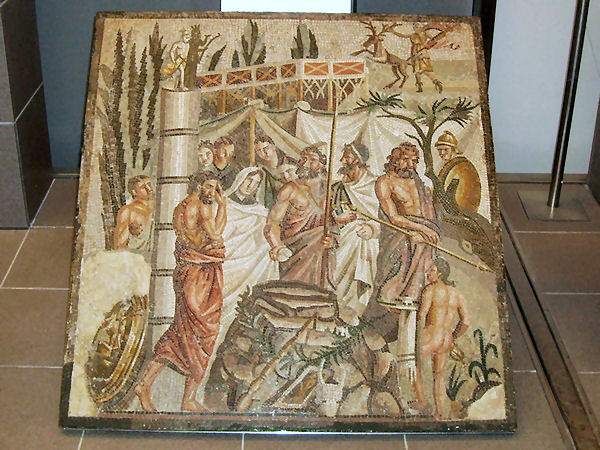 "Mosaic showing a scene from Euripides' ""Iphigenia in Aulis"""