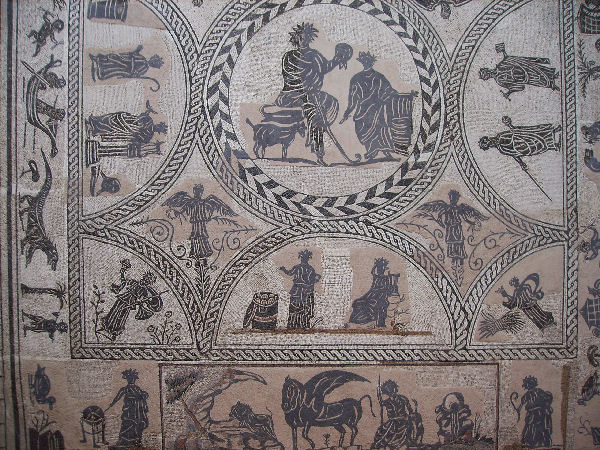 Merida, mosaic with a pastoral scene