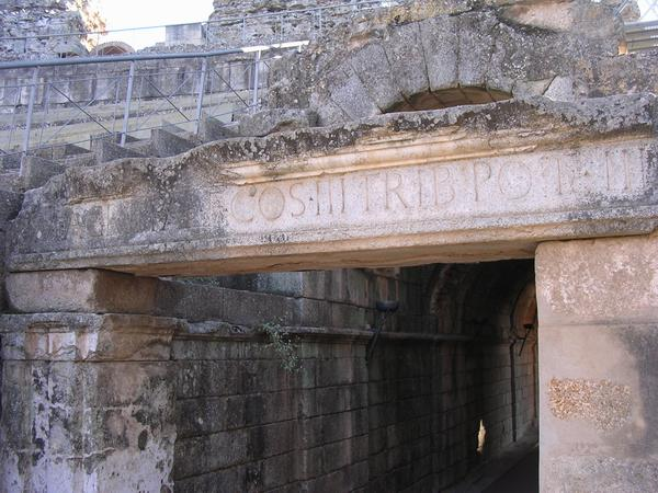 Augusta Emerita, Theater, inscription mentioning Agrippa