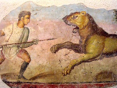 Merida, theater, fresco of a lion hunt