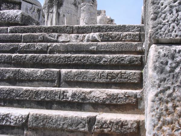 Didyma, temple of Apollo, builders' marks on the stairs leading to the sanctuary.