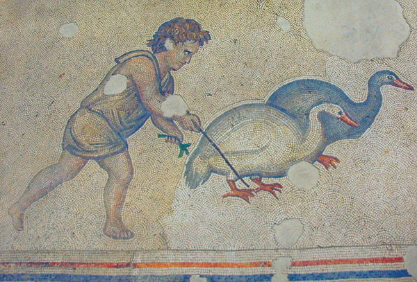 Constantinople, imperial palace, child with ducks