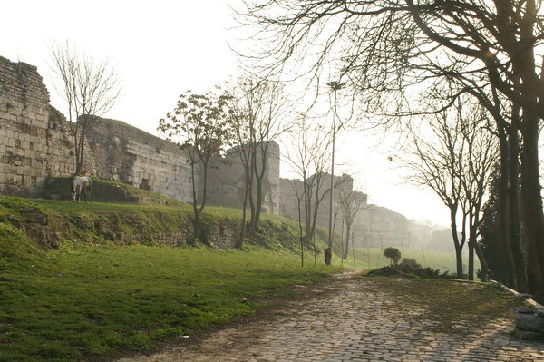 Constantinople, Theodosian Wall, S of Charisius Gate