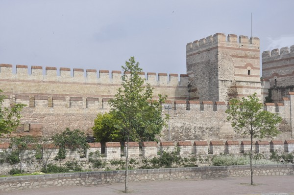 Constantinople, Theodosian Wall, restored section of the triple wall