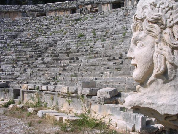 Myra, theater, seats and face of Hermes