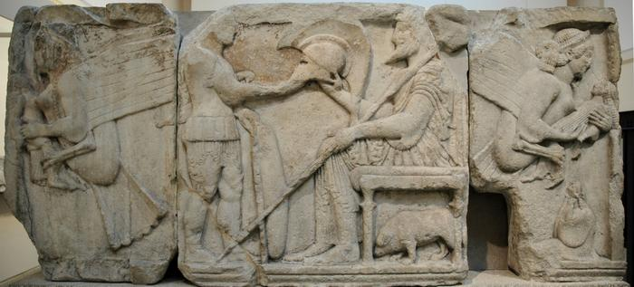 Xanthus, Agora, Harpy tomb, Relief of the harpies and a warrior