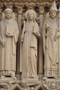 Saint Geneviève, in a portal of the Notre-Dame