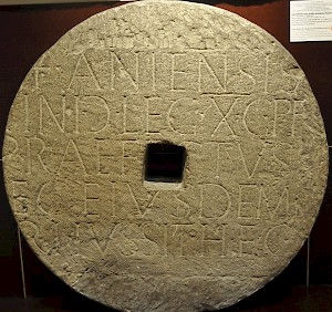 Burial inscription of an officer of the Tenth legion Gemina, from Wien. It was later used in a mill.