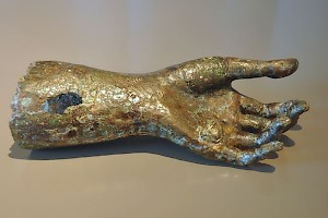 Hand of a bronze statue
