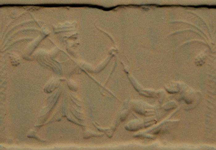 An Achaemenid king killing a Greek hoplite