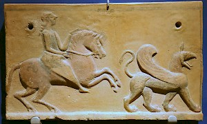 Rider and griffin: Phrygian antefix from the early Achaemenid period