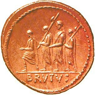 A Roman magistrate and two lictors carrying fasces