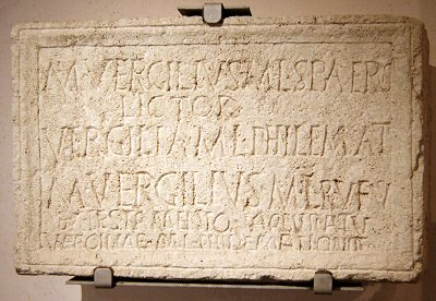 Rome, Tombstone of a lictor named Marcus Vergilius