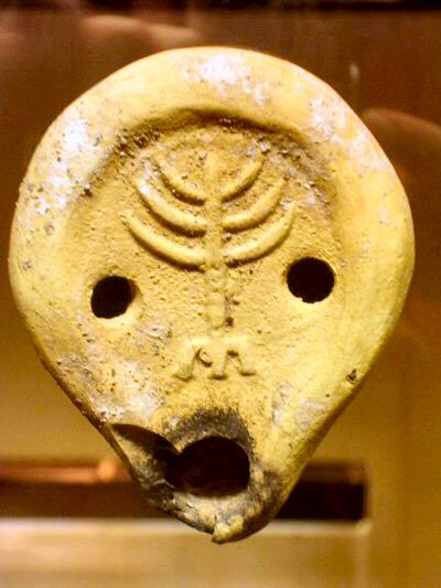 Fourth-century oil lamp with a Menorah