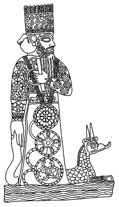 Marduk and his snake dragon (from J. Black & A. Green, Gods, demons and symbols ofancient Mesopotamia,1992)