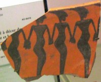 Dancers on a very ancient piece of pottery from Rhagae