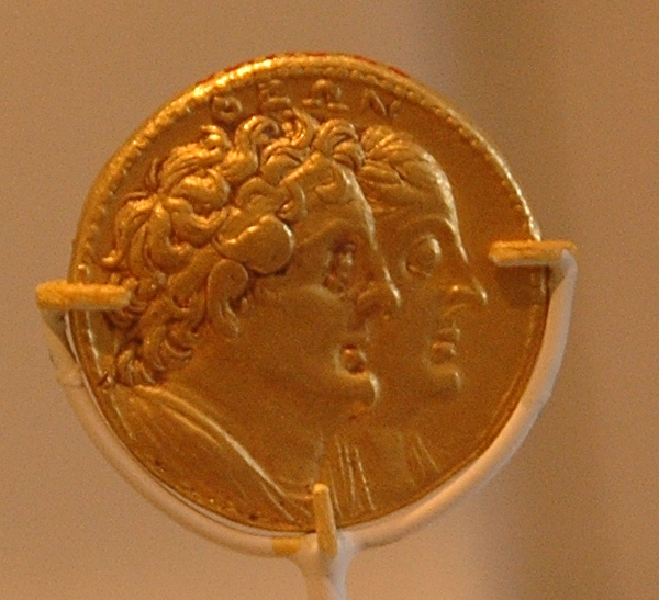 Ptolemy I Soter and Berenice I, coin