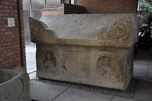 Sarcophagus of a couple; the woman is depicted with a dove, which may signify that she was a Christian