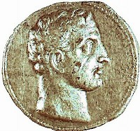 Melqart (Heracles) on a coin of Hannibal, perhaps with his own features