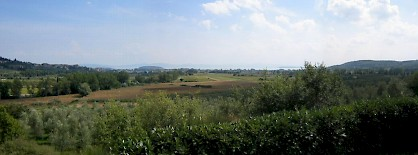 A panorama of the battlefield at Lake Trasimene, seen from the north.
