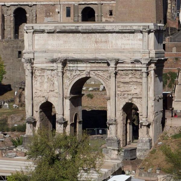 Rome, Forum Romanum, Arch of Severus, Seen from the temple of Faustina