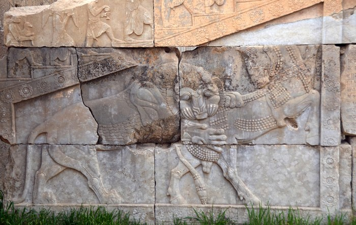 Persepolis, Palace of Artaxerxes, Relief of lion and bull