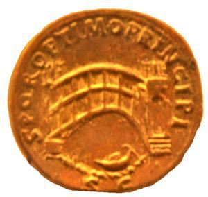 Coin with Trajan's bridge across the Danube