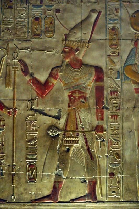Abydos, Sety I, wearing the double pschent crown