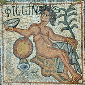 The Paradise river Pishon was often identified with the Danube (mosaic from Qasr Libya)