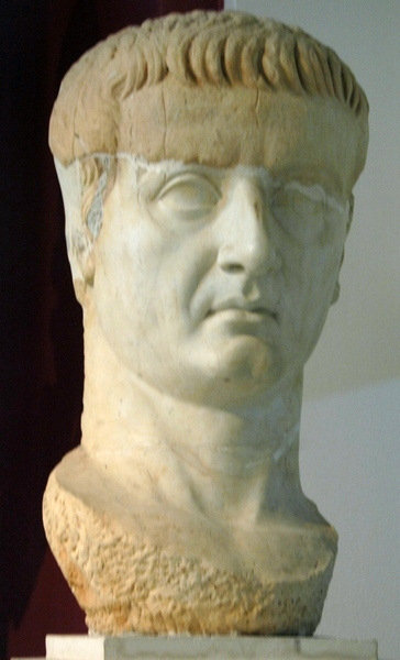 Lepcis, Theater, portrait of Tiberius