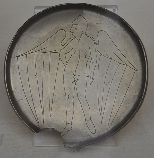 Etruscan mirror with a genius (cleaned)