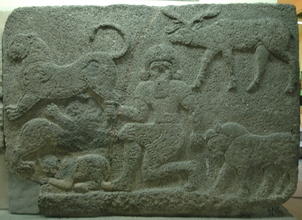 Karchemish, Neohittite relief of a hero with animals