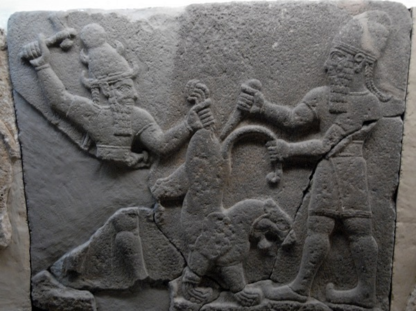 Karchemish, Neohittite relief of a fight against a lion
