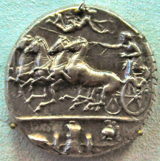 Syracusan coin, showing a chariot with maritime symbols, commemorating the naval victory