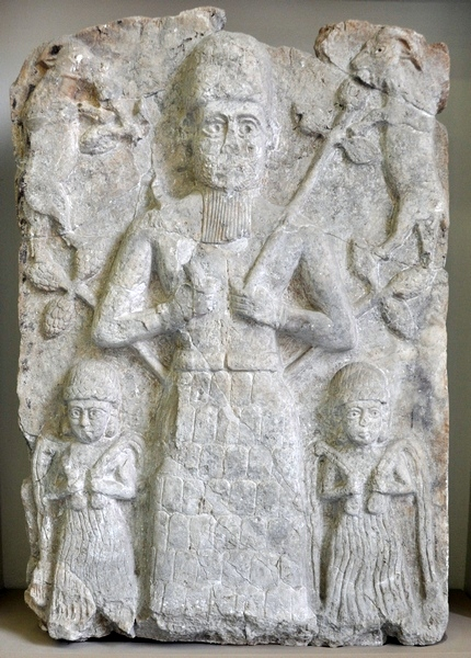 Aššur, Temple of Aššur, Old-Assyrian relief of three deities