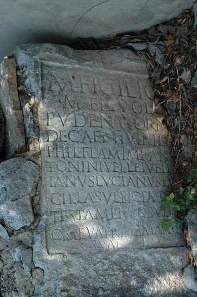 Philippi, tombstone, recycled as pavement of the Via Egnatia