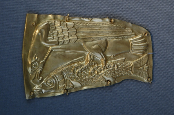 An eagle attacking a sturgeon (copy of a piece from the Witaszkowo Treasure)