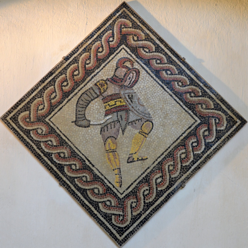 Reims, Mosaic of a gladiator (thraex)