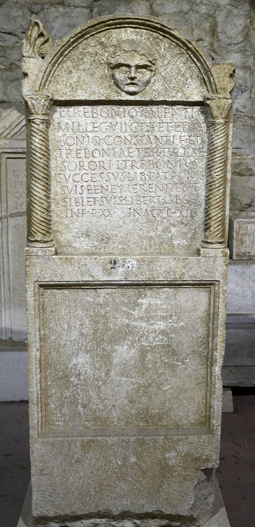 Salona, Tombstone of Trebonius of VII Claudia