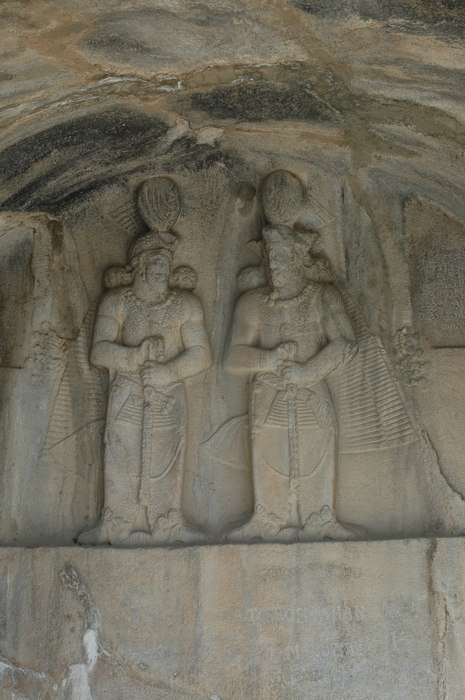 Taq-e Bostan, Small cave, Relief of Shapur II (r) and Shapur III or Ardashir III