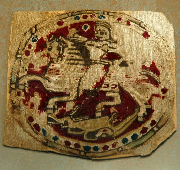 Byzantine silk with St. Demetrius or St George