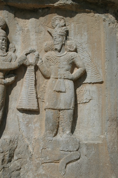 Taq-e Bostan, investiture relief of Shapur II, Ahuramazda