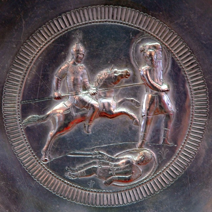 Verona, Silver dish with Byzantine horseman fighting the Langobards