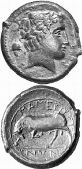 Mamertine coin, showing the war god and a bull
