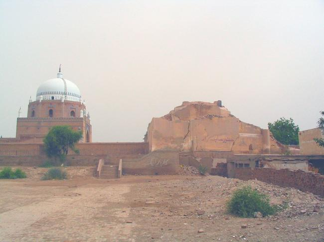 Multan's former Hindu temple (right)