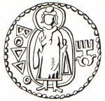 Drawing of a coin showing Buddha. It is not from the Mauryan age, but Kushan.